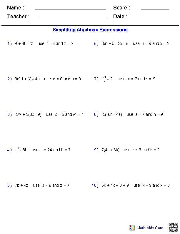 Evaluating Two Variables Worksheets Algebraic Expressions Evaluating Algebraic Expressions Algebra Worksheets