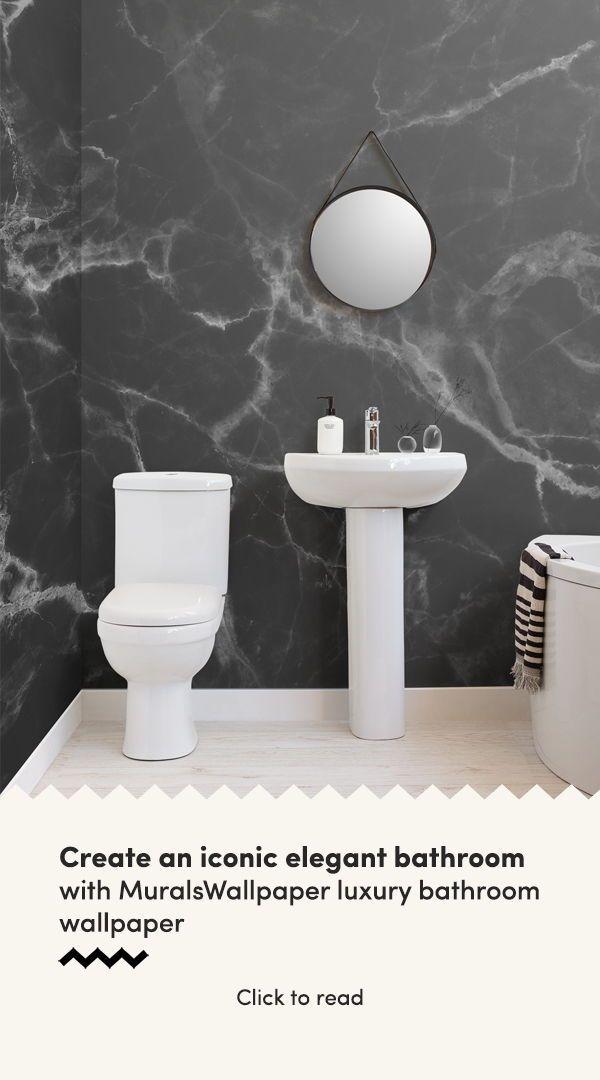 Black Marble Wallpaper Dark Marble Texture Muralswallpaper Bathroom Decor Wallpaper Accent Wall Bathroom Elegant Bathroom
