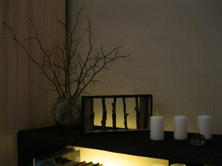 Wood Brenches Decoration with Dandelions and Candles #wood #brench #decoration #handmade
