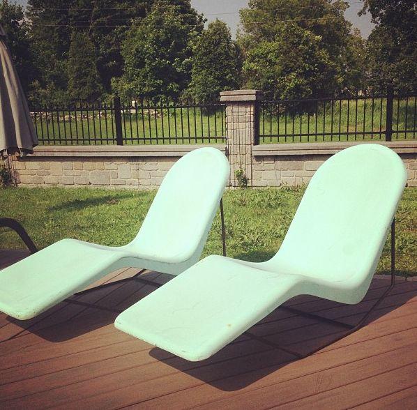 original retro Fibrella fibreglass lounge chairs from late ...