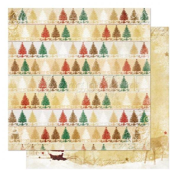 scrapbooková čtvrtka - Trees Silver and Gold - Bo Bunny