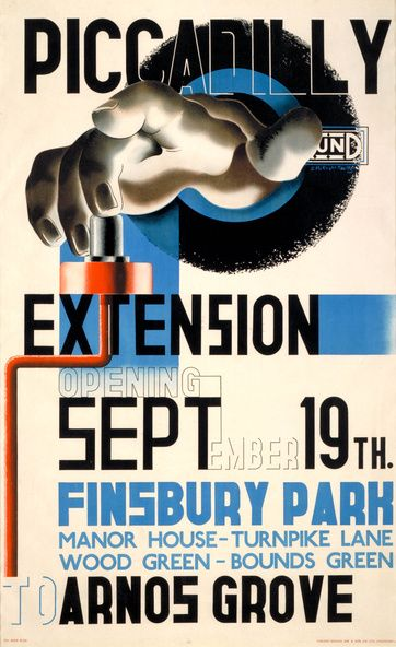 Piccadilly Extension poster - by Edward McKnight Kauffer, London Transport Museum.