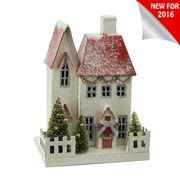 "Raz 11"" Lighted Cardboard Village House Christmas Figure 3600509"