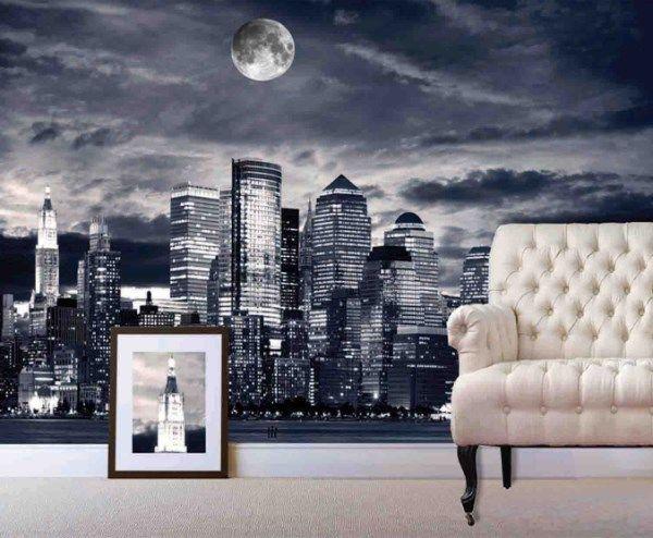 Moonlight Manhattan Mural (Moonlight Manhattan)   Digetex Wallpapers   An  Elegant Enhanced Black And White Photo Image Of A New York City Skyline. Part 63
