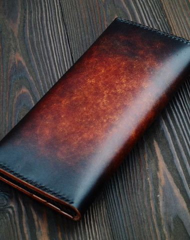 Handmade vintage dark brown black coffee leather long wallet purse clutch for men