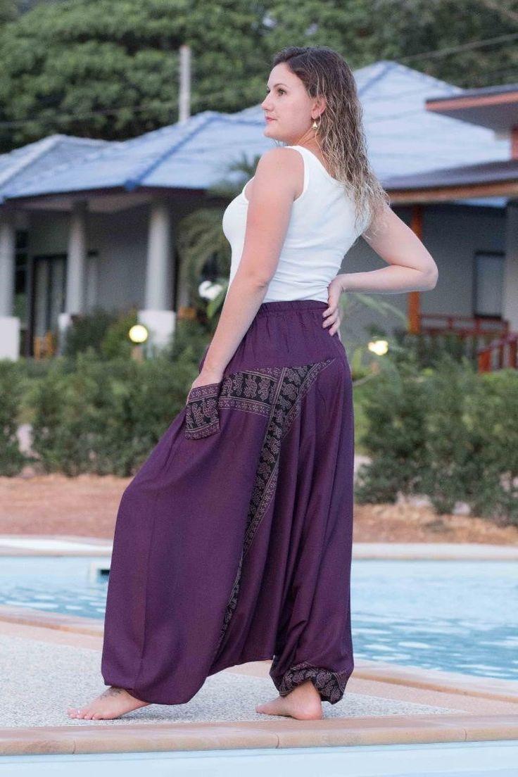 Calça Harem Púrpura  Lindas, folgadas e autênticas das tribos de Mao e Hmong do Norte da Tailândia, Laos e Birmânia, essas calças trazem a tradição tailandesa e oriental em seu estilo.  São produzidas a mão usando um tecido leve e macio.  http://www.calcathai.com/collections/calca-thai-harem