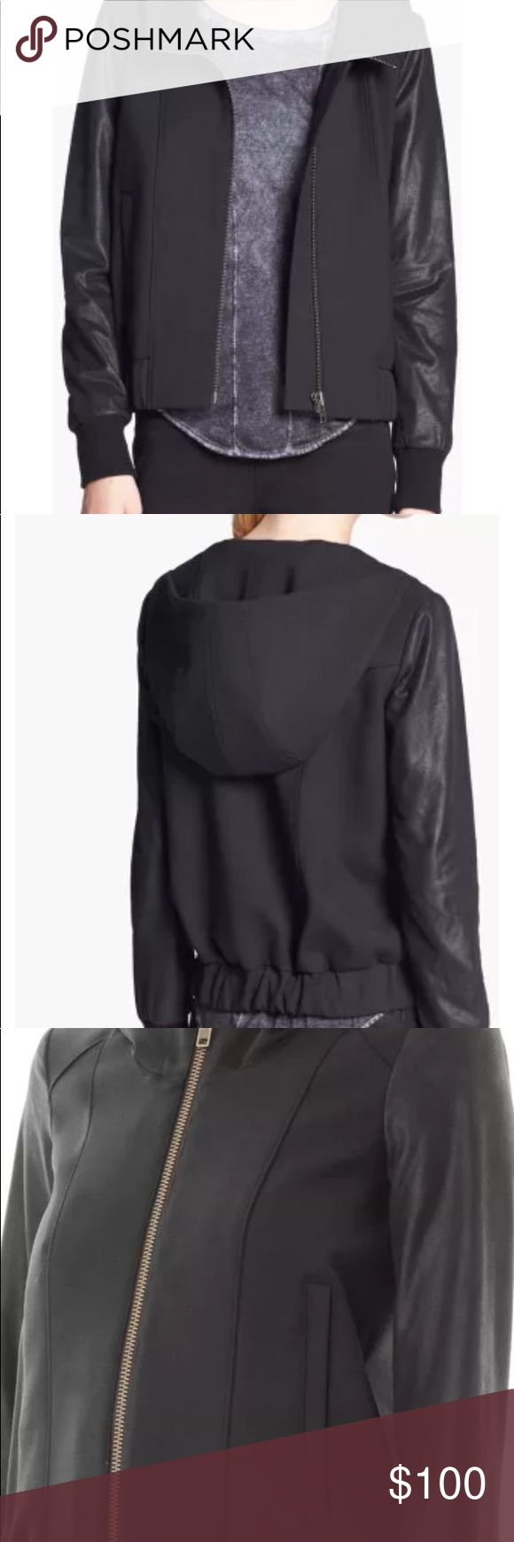 Helmet Lang black leather bomber hooded coat XS Really awesome bomber jacket. Virgin wool blend with calf leather sleeves. Edgy yet feminine. Size P, fits like XS. Big hood! Made in USA! Purchased at Neiman Marcus in Troy, MI. Helmut Lang Jackets & Coats Utility Jackets