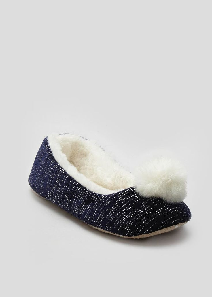 Diamante heat seal ballet slipper in navy with pom pom feature to the front.