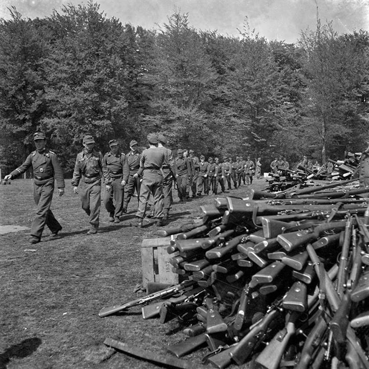 The end of the war: German soldiers handed over their weapons Soest 10 May 1945.
