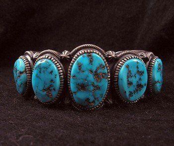 Navajo Sleeping Beauty Turquoise Silver Bracelet by Kirk Smith
