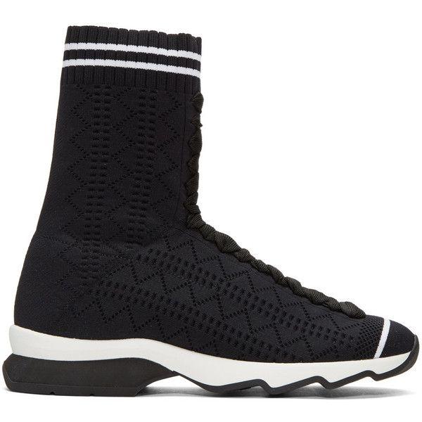 Fendi Black Sock High-Top Sneakers ($880) ❤ liked on Polyvore featuring shoes, sneakers, black, high top shoes, black hi top sneakers, black hi tops, black high tops and black sneakers