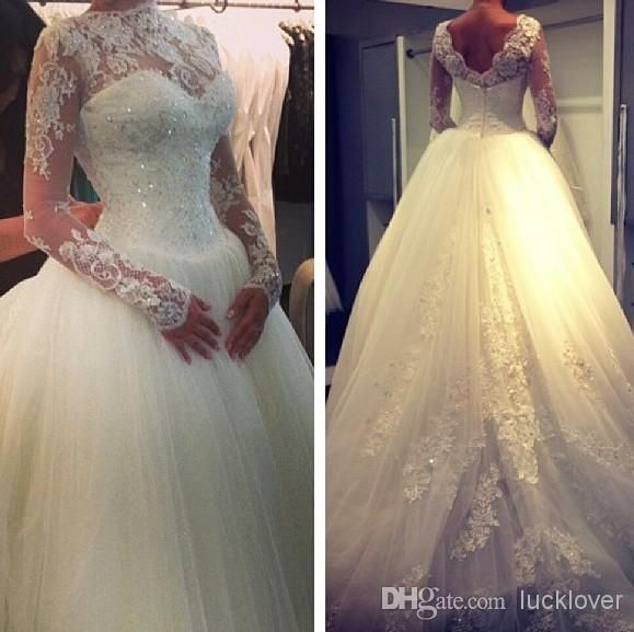 Wholesale Ball Gown Wedding Dresses - Buy 2014 High Neck Lace Long Sleeves Beaded Ball Gown Elegant Princess Wedding Dress Applique Backless Court Train Tulle Wedding Gowns Dresses, $140.16 | DHgate