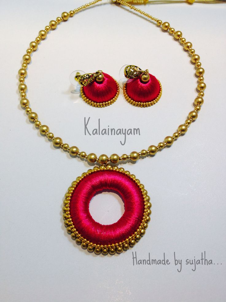with necklace of thread long silk bangles waangoo picture set jhumkas