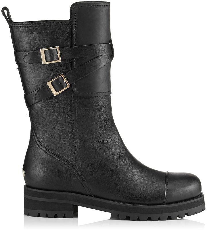 Jimmy Choo Dwight Black Biker Leather Snow Boots on shopstyle.co.uk