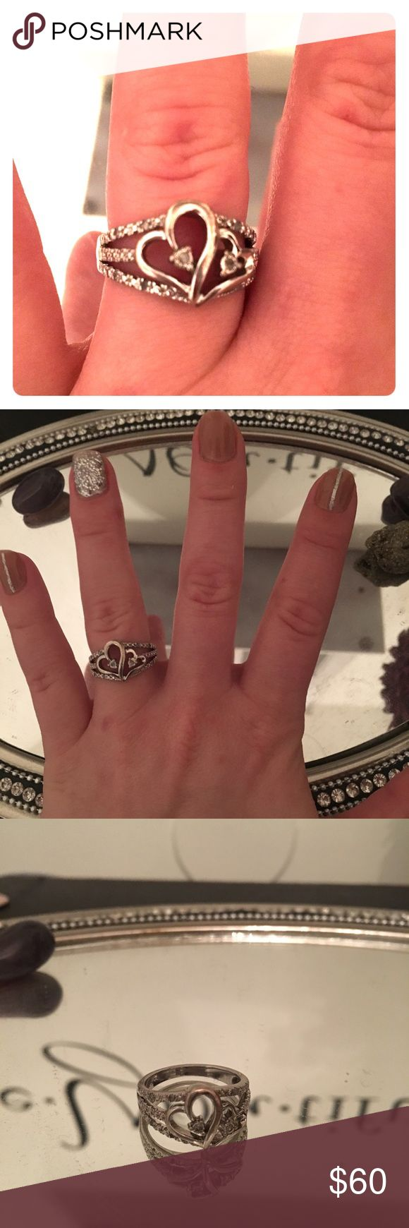 Diamond heart ring Size 7 diamond heart ring. Looks brand new no scratches or dings all diamonds accounted for Nordstrom Jewelry Rings