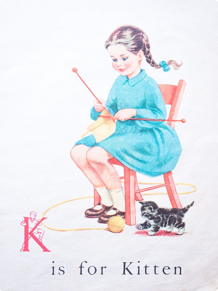 'K is for Kitten' | vintage children's book illustration