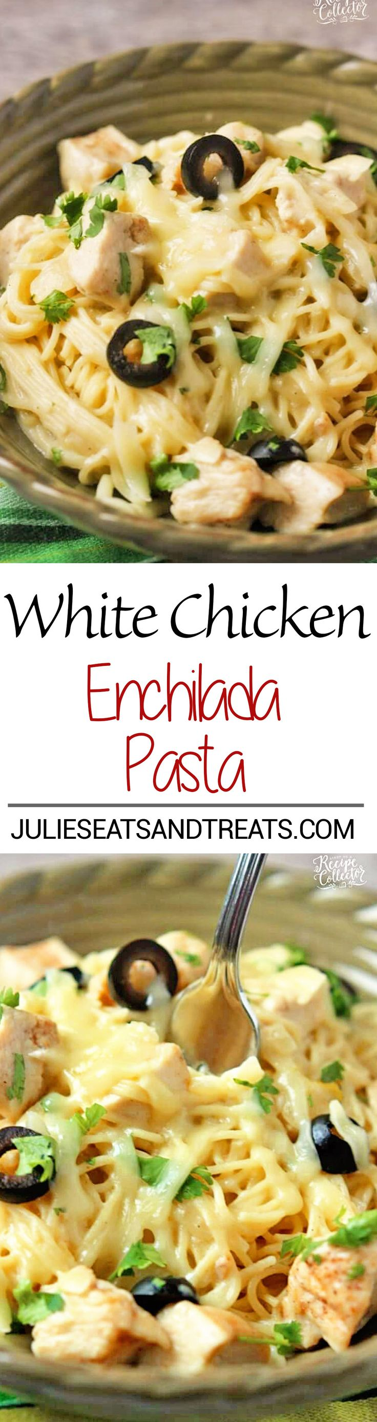 White Chicken Enchilada Pasta Recipe – A delicious pasta filled with all the wonderful flavor of white chicken enchiladas with the help of green chilies, a little sour cream, and melted jack cheese! on MyRecipeMagic.com
