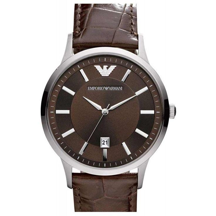 Reloj Armani hombre AR2413 Renato. La caja que guarda el mecanismo es de acero inoxidable y tiene un diámetro de 45 mm. La correa es de cuero marrón y la esfera del reloj es de color marrón. El modelo es sumergible a 5 ATM y cuenta con una garantía intern