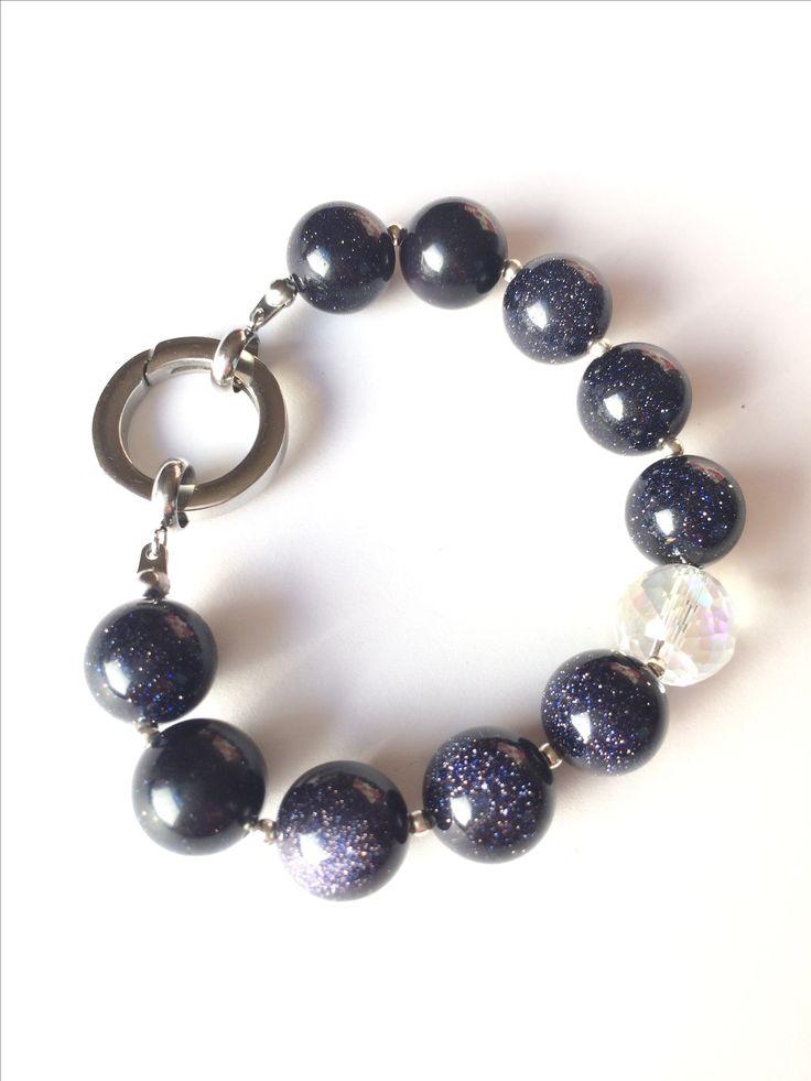 Natural stone braclet, Blue sandstone braclet, Semi precious stone braclet, gemstone womens braclet, 12 mm blue sand stone, Christsmas gift