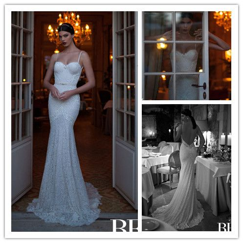 Find More Wedding Dresses Information about Vintage 2015 Berta Lace Wedding Dress Mermaid Sweetheart Spaghetti With Beaded Pearls Lace Court Train Long Bridal Gowns DD21,High Quality dress stock,China dress layer Suppliers, Cheap dresses for wide hips from Suzhou Romantic Wedding Dress Co. Ltd on Aliexpress.com