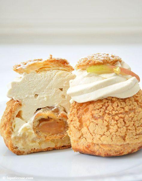 Rezept für Windbeutel mit Salzbutterkaramell und Birne * Recette de Choux au caramel beurre salé et poire * Recipe for Puff Pastry with Caramel and pear * Made by La Pâticesse
