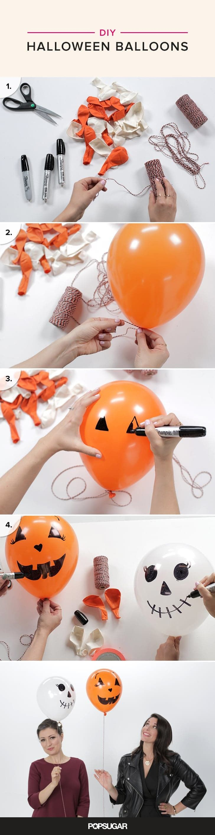 If you need any easy and affordable DIY project to spruce up your Halloween party, look no further than these balloons.