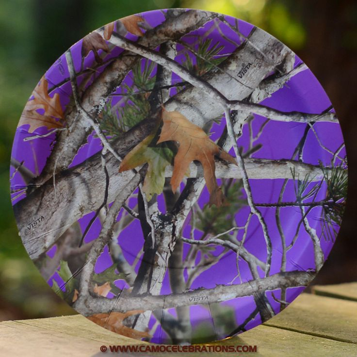 Purple Camo Paper Plates 8-Pack