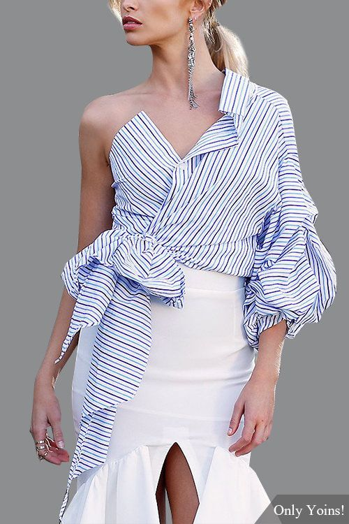 Sexy Pinstriped One Shoulder Top in Blue