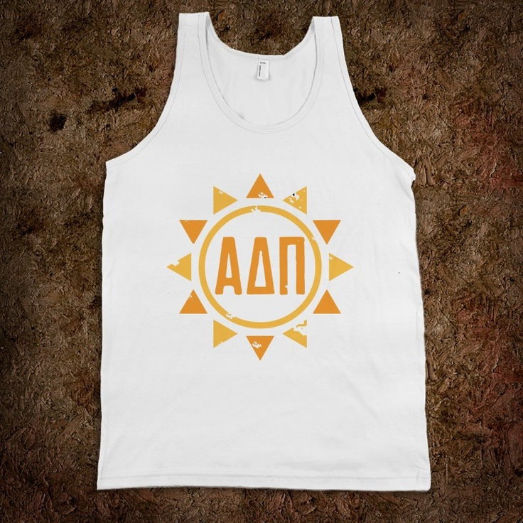 Alpha Delta Pi Frat Tanks - Alpha Delta Pi Sun Frat Tanks  - Back says: GIRLS JUST WANT TO HAVE SUN