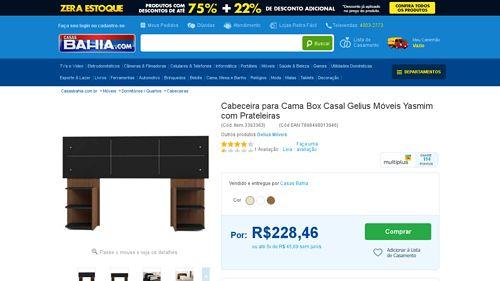 [Casas Bahia] Cabeceira para Cama Box Casal Gelius Móveis Yasmim com Prateleiras Marrom Chocolate - de R$ 262,48 por R$ 228,46 (12% de…