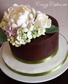 Chocolate cake with gorgeous sugar flowers.