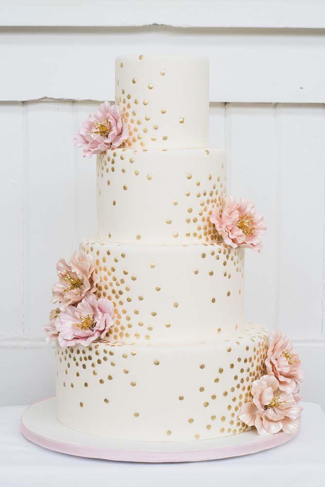 gold polka dots & sugar flowers