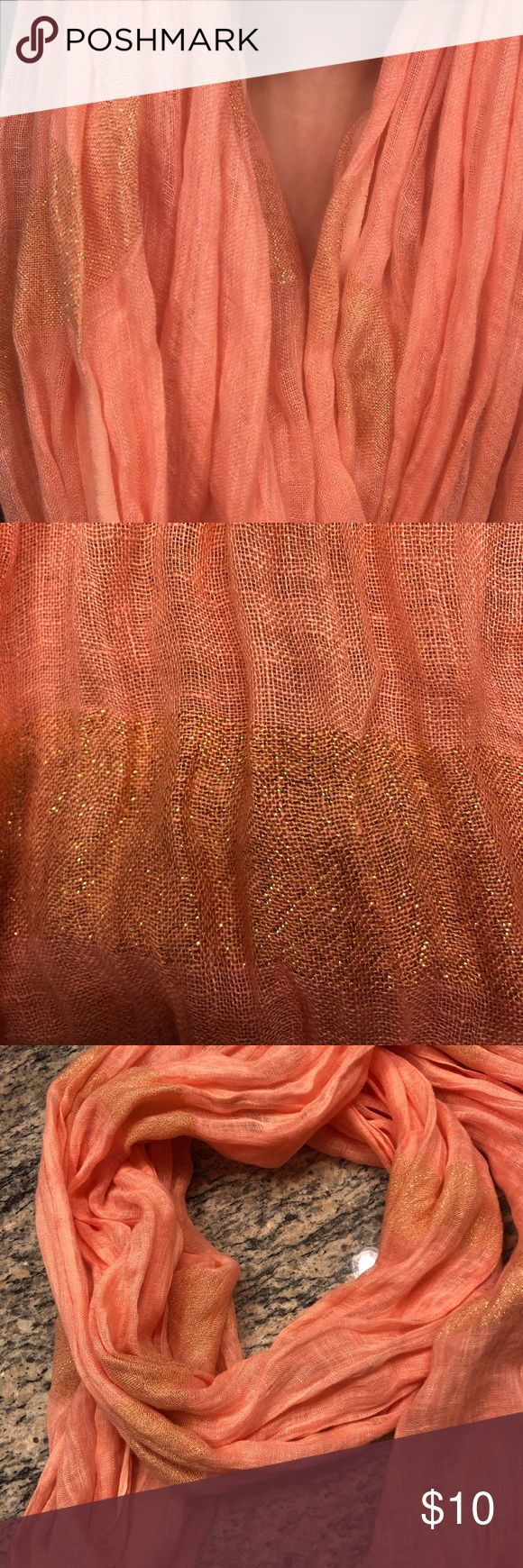 Coral scarf Coral and shimmer Eileen Fisher Accessories Scarves & Wraps