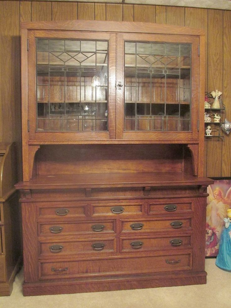 Antique Tiger Oak Leaded Glass Sideboard Hutch 5 X 7 2