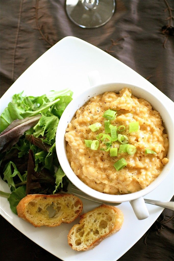 Cheddar Cheese Risotto: This was EXCELLENT. I added 1/2 cup smoked gouda cheese and more scallions/green onions (to individual taste). Also it may need extra vege broth then the tecipe calls for, start with 1/2 cup at a time. This is a must do again recipe! :)