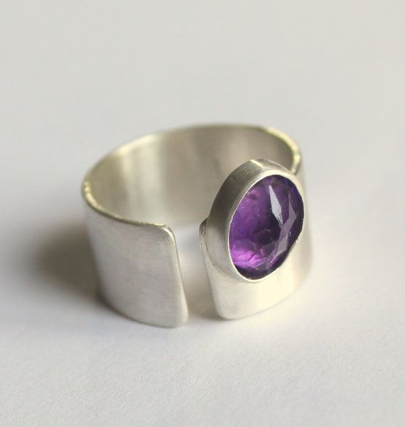 Frühling lila Stiefmütterchen Amethyst Ring Sterling Silber