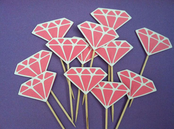 12 Pink Diamond cupcake toppers, appetizer picks-food picks-birthday cupcake toppers by ScrapStarz on Etsy https://www.etsy.com/listing/153197720/12-pink-diamond-cupcake-toppers