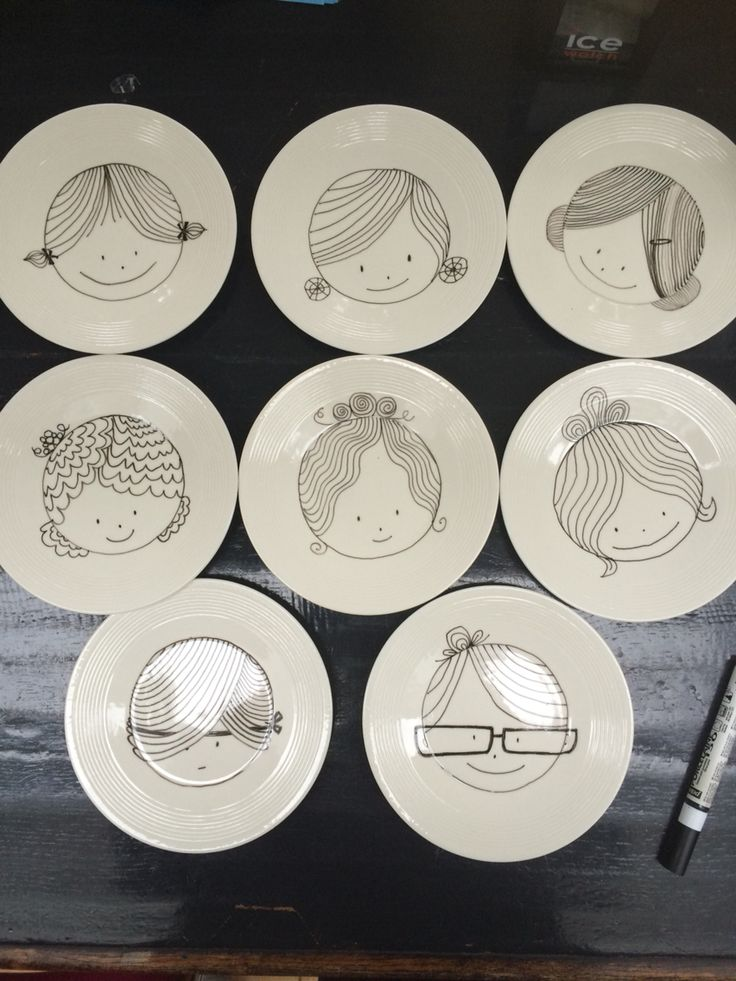 DIY gebaksbordjes met een porseleinstift thema: Dames... 8 x gebak!