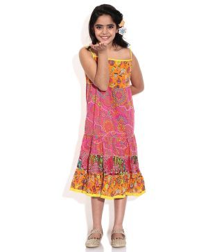 Biba Pink Casual Tiered Cap Sleeve Dress