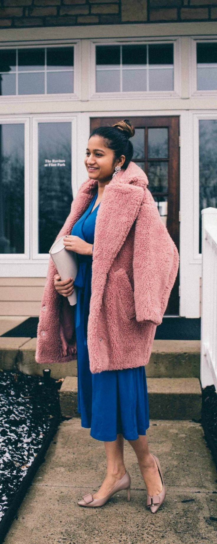 Valentine's Day gift guide for him   dresses up V day outfit --------------------------------- wrap dress, blue wrap dress, faux fut coat, pink fur coat, valentines day outfit ideas 2018, valentines outfit, v day outfit 2018, Aldo earrings, Ferragamo bow pumps, Kate spade cedar street mini bag or clutch, topshop faux fur coat, chic v day outfit, elegant outfit,