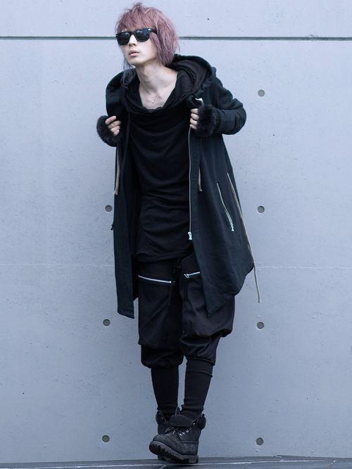 albino:ZIPアップスウェットモッズパーカー albino:ドレープポケット付きフェイクレイ
