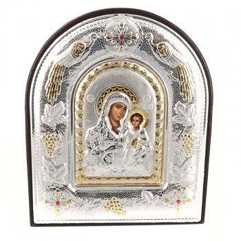 Εικόνες : Ασημένια Εικόνα με την Παναγία με Επίχρυσες Λεπτομέρειες σε Καφέ Δέρμα MA/E5102DX/BR