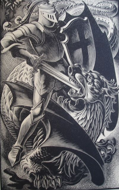 The Red Cross Knight and the Dragon....John Austen for Spenser's Faerie Queen