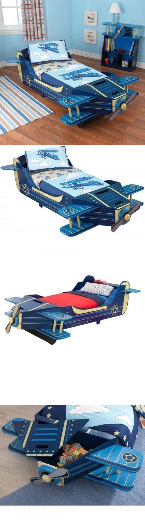 Kids at Home: Airplane Convertible Toddler Bed Blue Kids Bedroom Furniture Propeller Spins BUY IT NOW ONLY: $198.99 #priceabateKidsatHome OR #priceabate