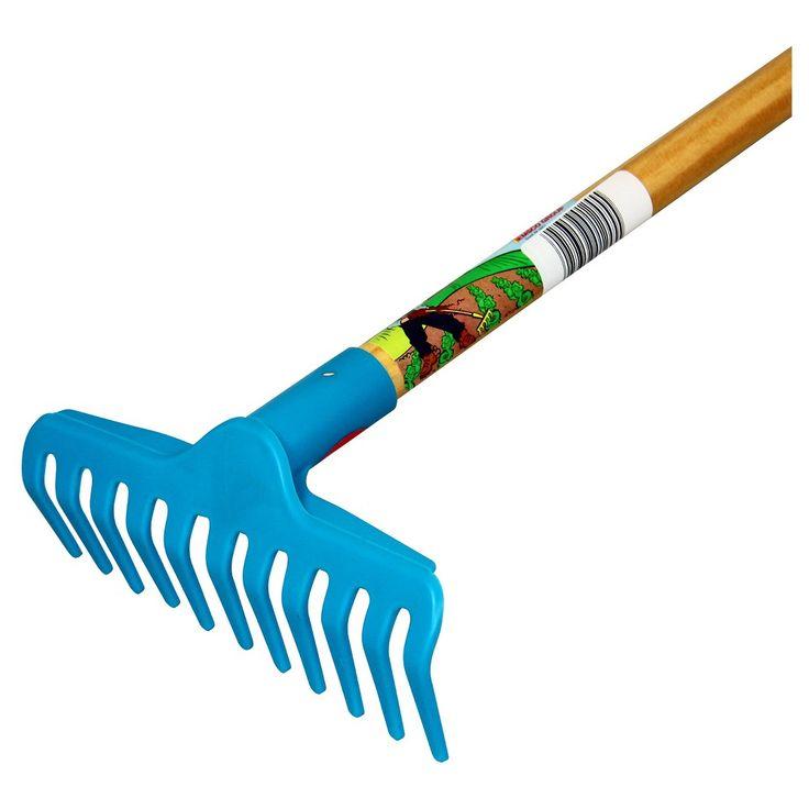 Children's Garden Rake with Plastic Head / Hardwood Handle - Blue - Little Diggers