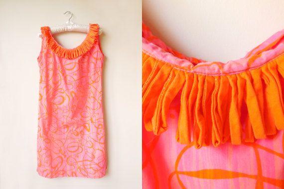 vintage 1960s pink orange swirl pattern mod by starseedvintage