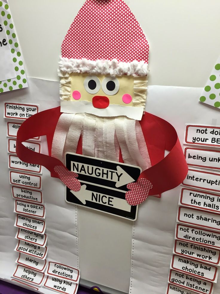 Santa's nice and naughty list of school behavior.  Fun classroom management tool for Christmas! from Mrs. Lee's Kindergarten