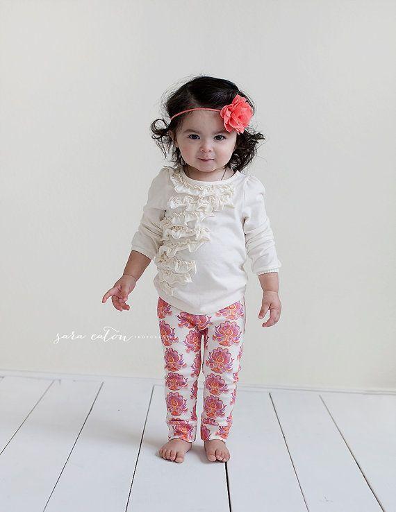The Amelia Leggings All Organic Cotton by SugarPlumLaneBaby | India Flower pattern design by Gemma Ballesteros