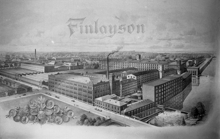 In 1839 the industrial weaving of cotton fabrics began in Tampere, Finland. Worker housing was built and a school was founded in conjunction with the cotton mill, followed by a sickness fund, a hospital, a library and a church. Finlayson's cotton mill opened the first savings bank and a cooperative in Tampere.