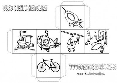 """Enlace a """"Dados cuenta historias Story Cubes I """". Cuatro dados : personajes , objetos , lugares y medios de transporte ."""
